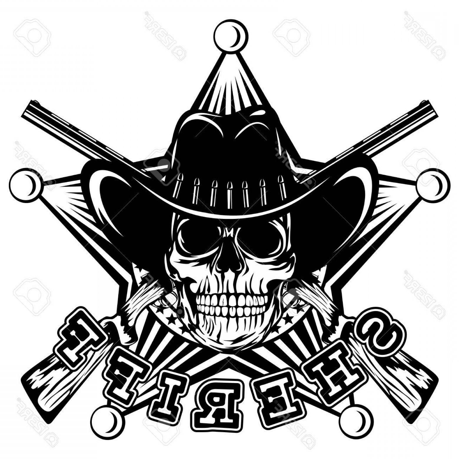 1560x1560 Photostock Vector Vector Illustration Skull In Cowboy Hat And