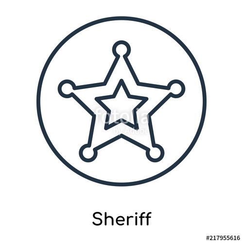 500x500 Sheriff Icon Vector Isolated On White Background, Sheriff Sign