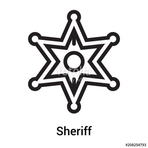 500x500 Sheriff Icon Vector Sign And Symbol Isolated On White Background