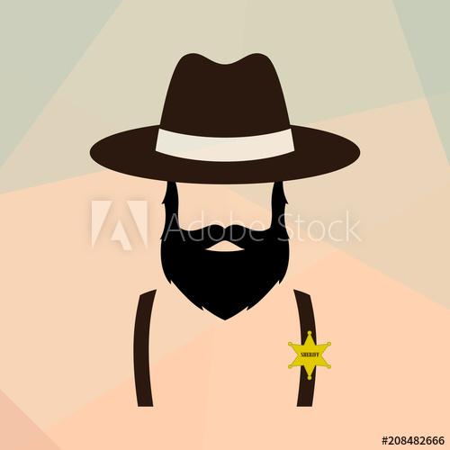 500x500 Sheriff Man Portrait. Policeman Retro Logo. Vector Illustration