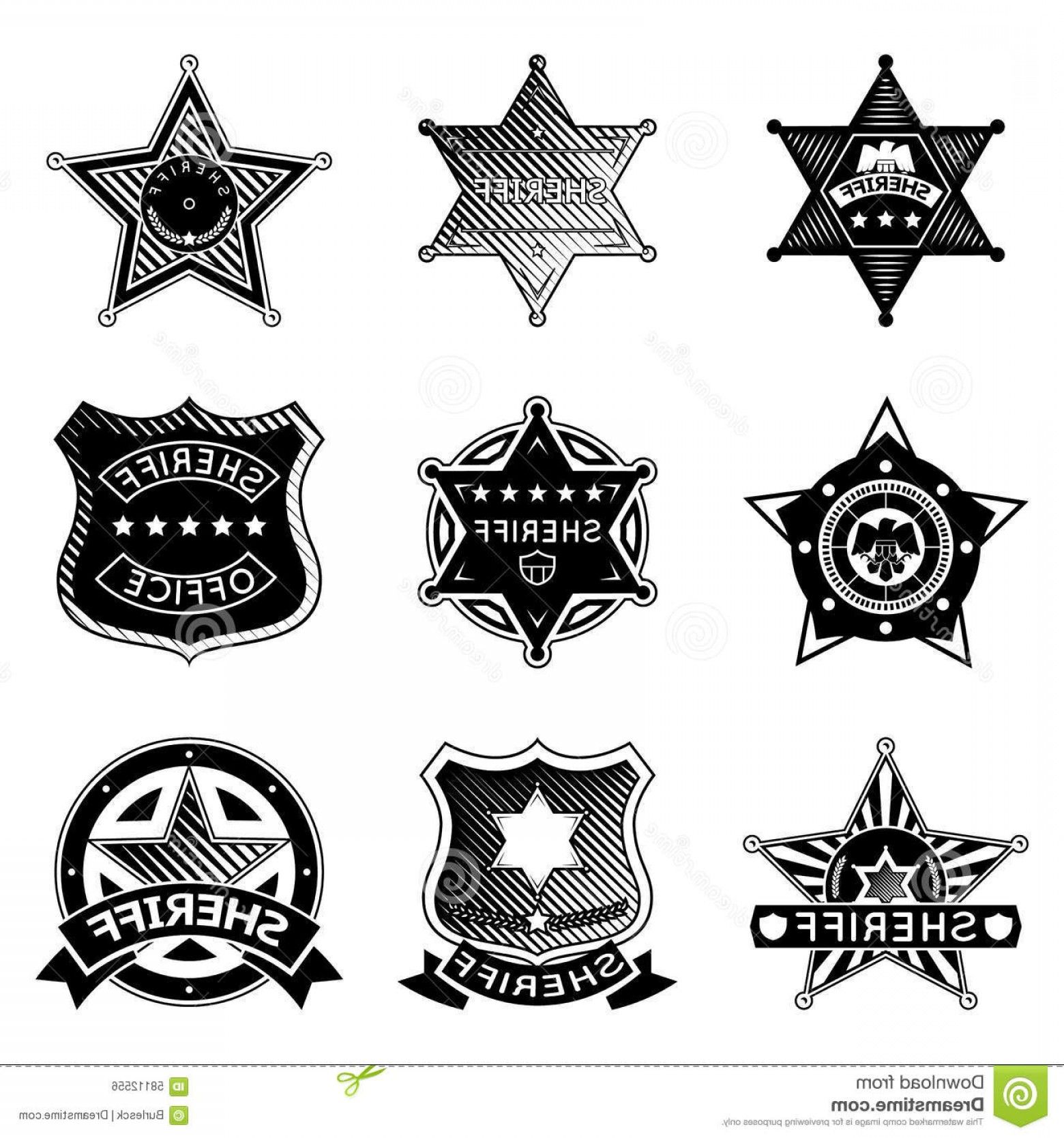 1560x1668 Stock Illustration Set Vector Sheriff Marshal Badges Stars Police