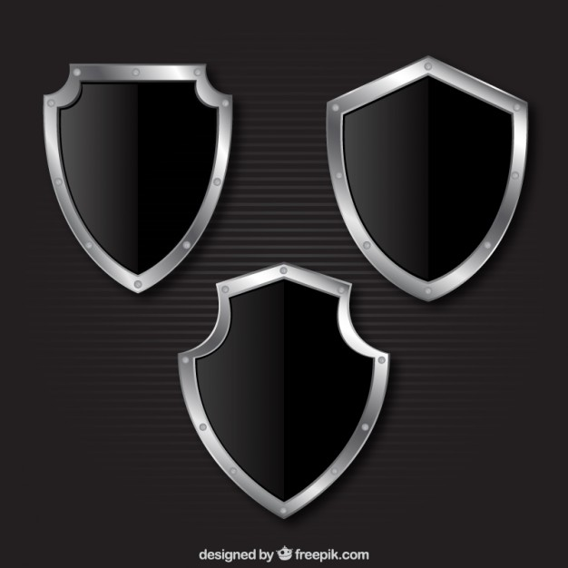 626x626 Metallic Shields Collection Vector Free Download