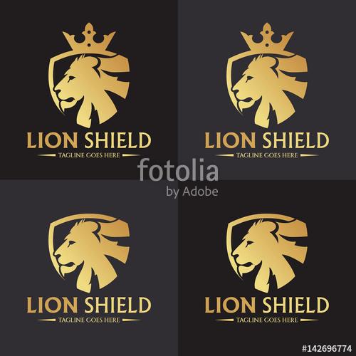 500x500 Lion Shield Logo Design Template. Lion Head Logo. Vector