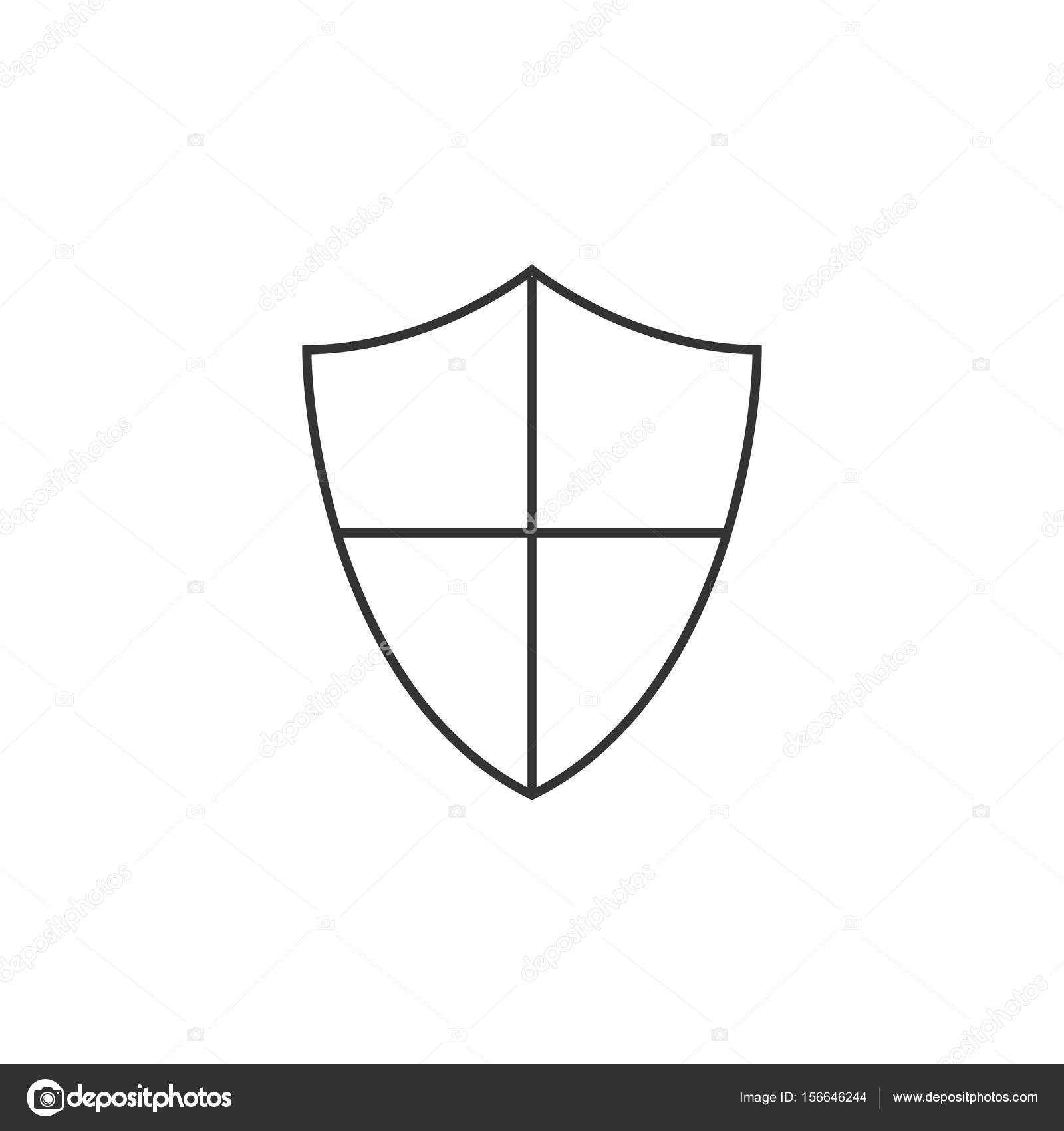 1600x1700 Shield Outline Refrence Outline Icon Shield Stock Vector