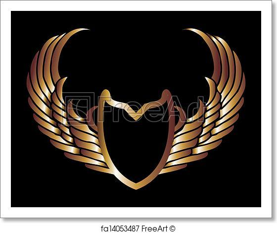 560x470 Free Art Print Of Metalic Gold Wings And Shield Vector Art
