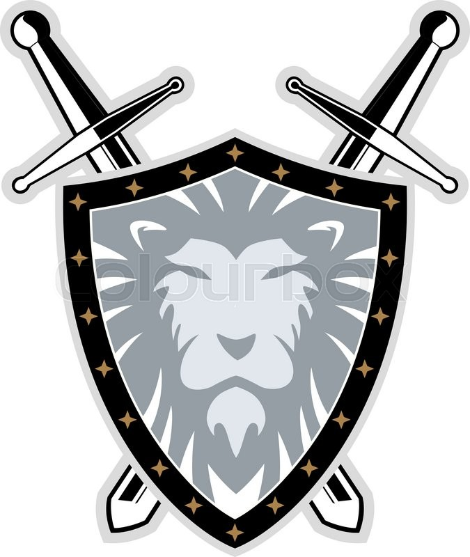 675x800 Sword With Lion Shield , Vector Illustration Stock Vector