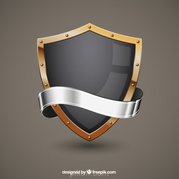 626x626 Ai] Metallic Shield Vector Free Download