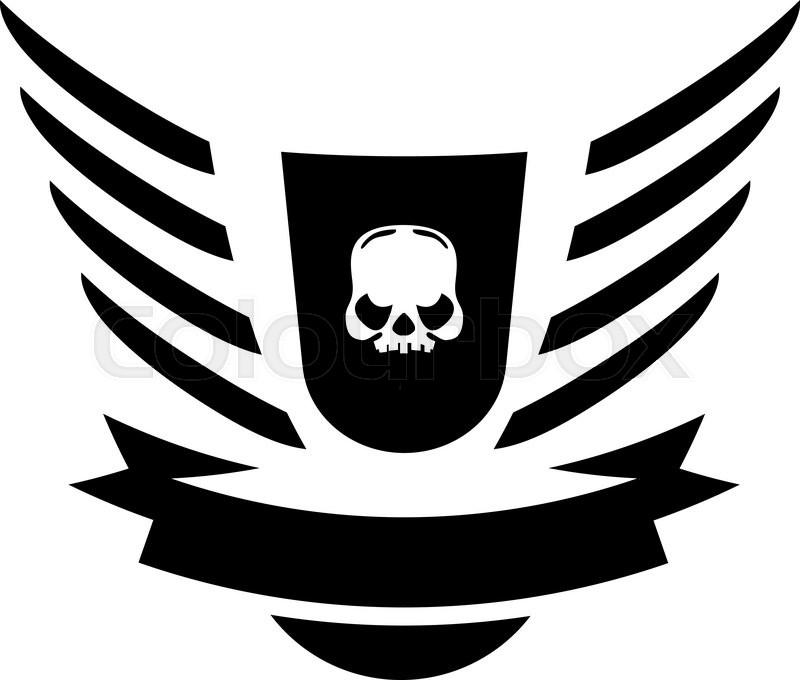 800x680 Moto Skull Vector Logo Symbol Inside Shield With Wings Stock