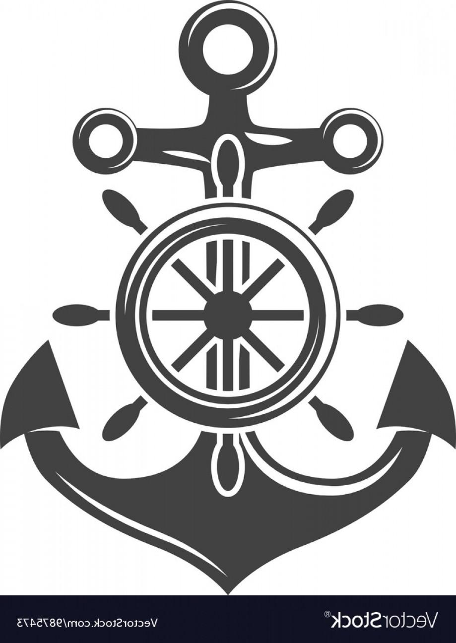 919x1296 Ship Steering Wheel And Anchor Black Icon Logo Vector Sohadacouri