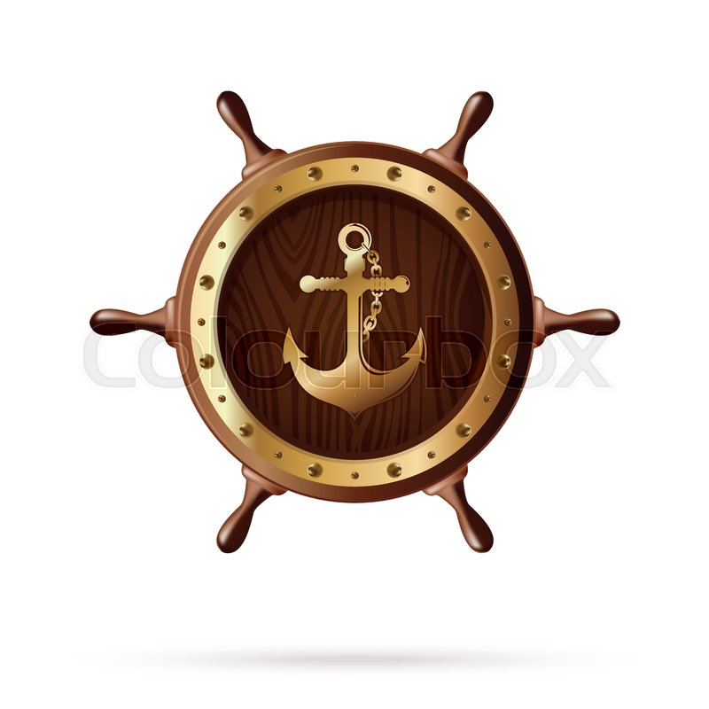 800x800 Anchor Image On A Wooden Steering Wheel. Wooden Ships Wheel