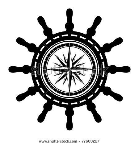 450x470 Ship Steering Wheel Abstract, Vector Illustration Siluety