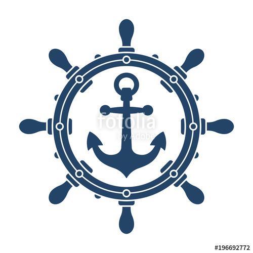 500x500 Ship Steering Wheel And Anchor Navigation Symbol Stock Image And