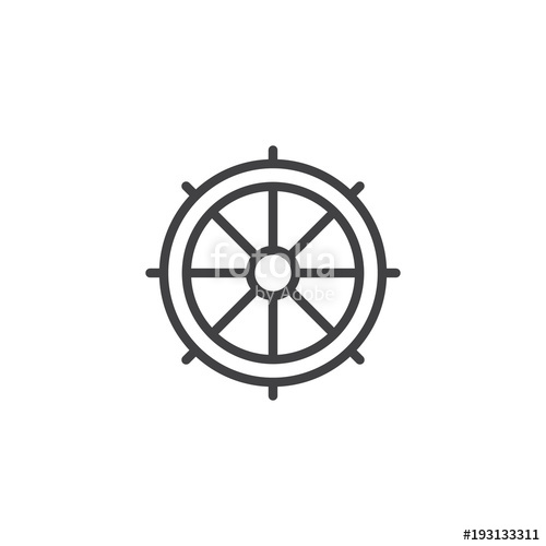 500x500 Ship Steering Wheel Outline Icon. Linear Style Sign For Mobile