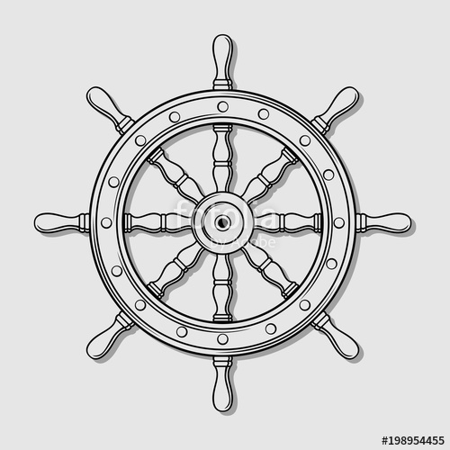 500x500 Ship Steering Wheel. Vector Illustration Stock Image And Royalty