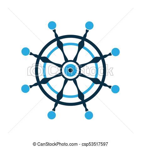 450x470 Steering Wheel. Ship Rudder. Nautical Pictogram. Vector Logo