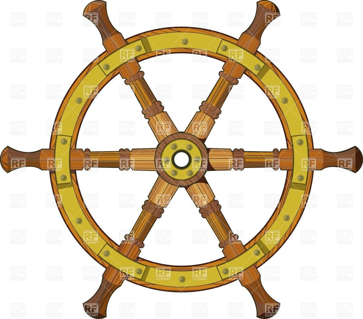 1200x1054 Antique Wooden Ship Steering Wheel Vector Image Vector Artwork