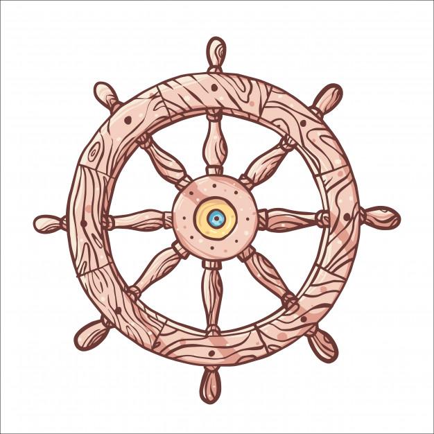 626x626 Hand Drawn Ship Wooden Steering Wheel Vector Premium Download