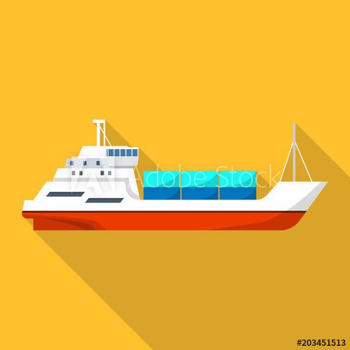 500x500 Passenger Cargo Ship Icon. Flat Illustration Of Passenger Cargo