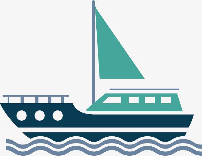 650x500 Flat Sailboat Vector, Cartoon Cargo Ship, Vector Cargo Ship, Ocean