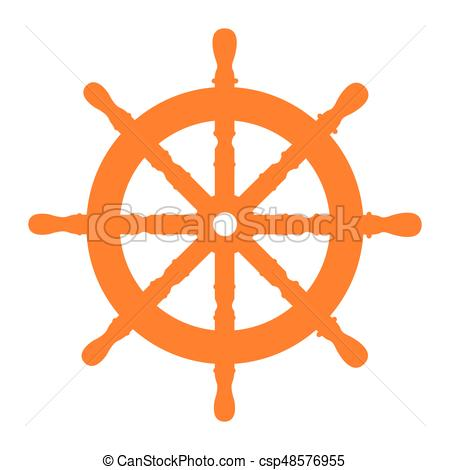 450x470 Isolated Ship Wheel. Isolated Silhouette Of A Ship Wheel, Vector