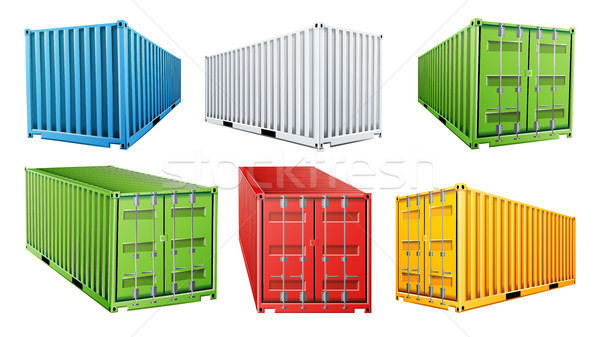 600x337 3d Shipping Cargo Container Set Vector. Blue, Red, Green, White