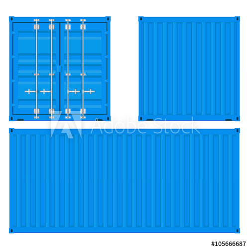 500x500 Cargo Container. Blue Shipping Container