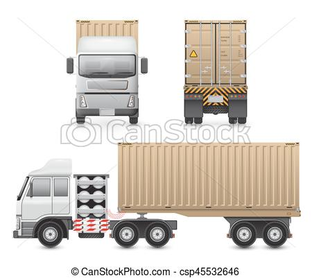 450x401 Trailer Truck Vector. Vector Of Trailer Truck And Cargo Container