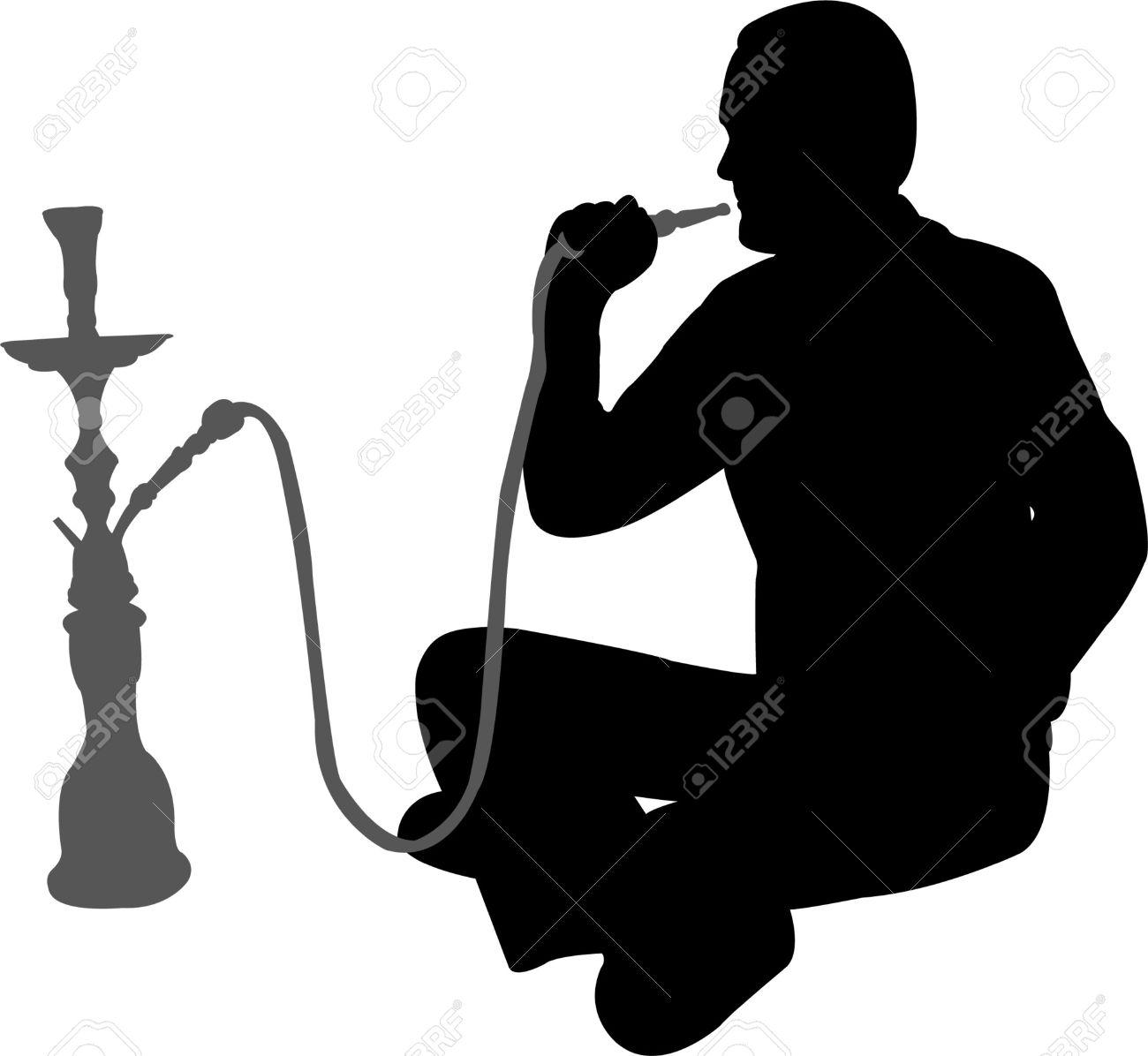 1300x1196 9312596 Man Smoking Nargile Vector Stock Vector Smoking Shisha