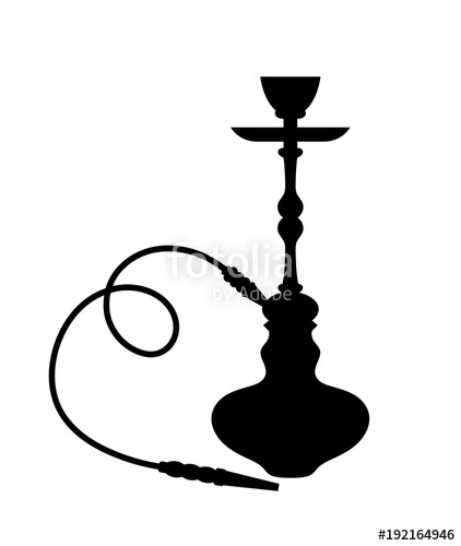 422x500 Silhouette Of Hookah, Shisha Over White Stock Image And Royalty