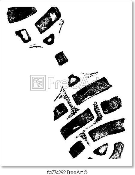 450x580 Free Art Print Of Left Shoeprint 2. Isolated Left Shoeprint 2
