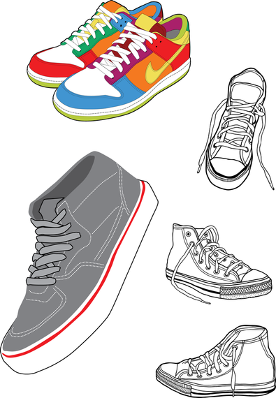 395x570 Sports Shoes And Canvas Shoes Vector