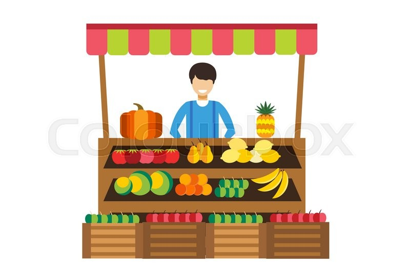 800x532 Fruit And Vegetables Shop Stall. Shop Man Silhouette, Buyers