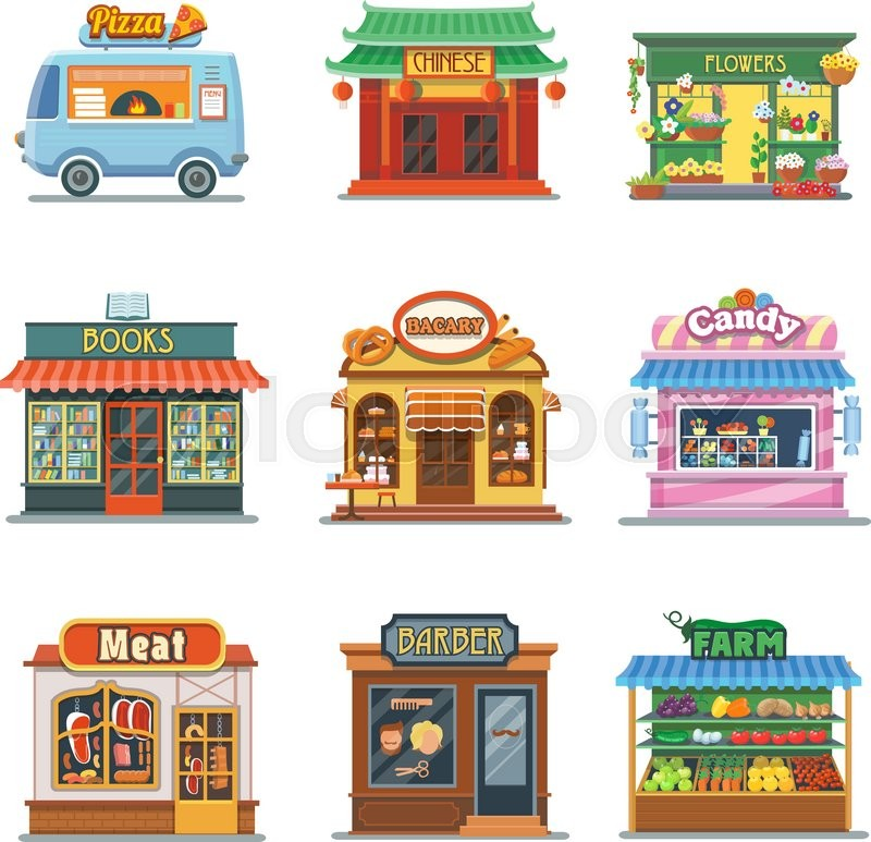 800x773 Set Of Nice Showcases Of Shops. Pizza Trailer, Bakery, Candy Store