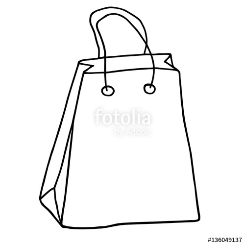 500x500 Shopping Bag Icon. Hand Drawn Grocery Bag With Handles. Vector I