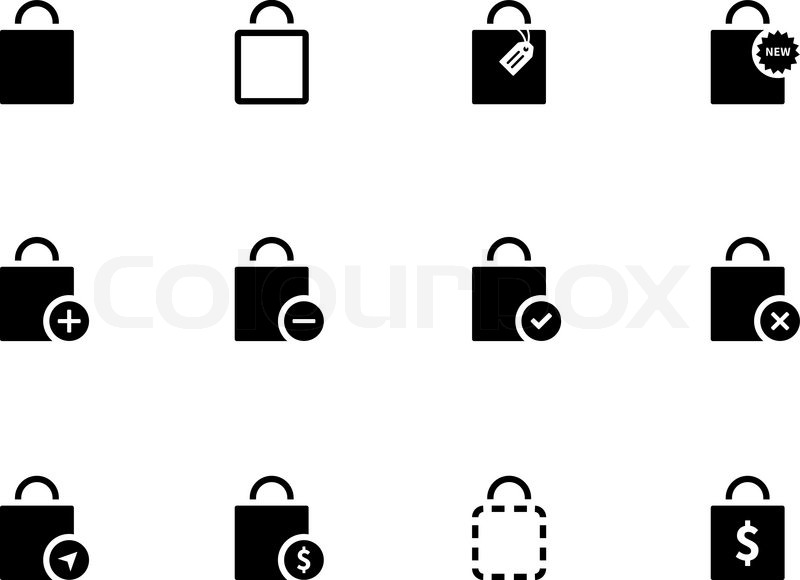 800x580 Shopping Bag Icons On White Background. Vector Illustration