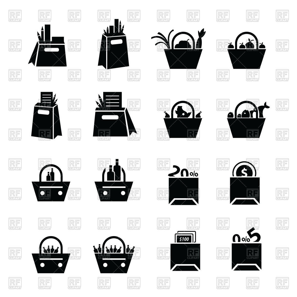 1200x1200 Shopping Bags Set With Food Icons