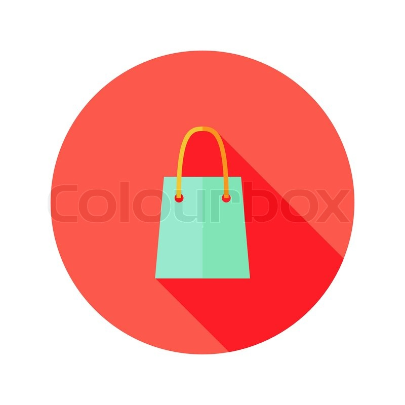 800x800 Illustration Of Christmas Shopping Bag Flat Icon Stock Vector