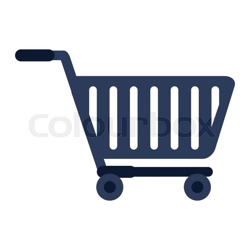 800x800 Flat Design Shopping Cart Icon Vector Illustration Stock Vector