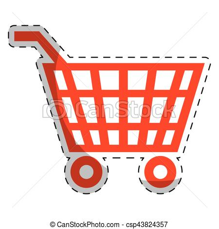 450x470 Red Shopping Cart Icon Over White Background. Vector Illustration.