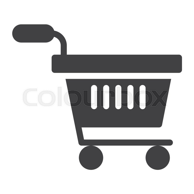 800x800 Shopping Cart Icon Vector, Filled Flat Sign, Solid Pictogram