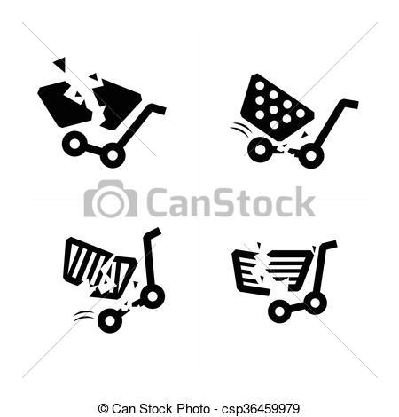 450x470 Break Shopping Cart Icons. Vector.