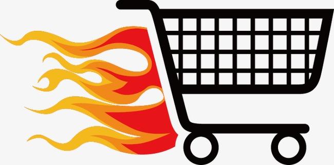 650x321 Flame Shopping Cart Icon, Flame Vector, Shopping Vector, Icon