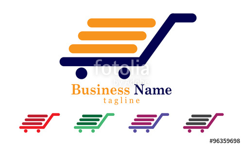 500x300 Shopping Cart Icon Logo Vector With Five Colors Options Stock