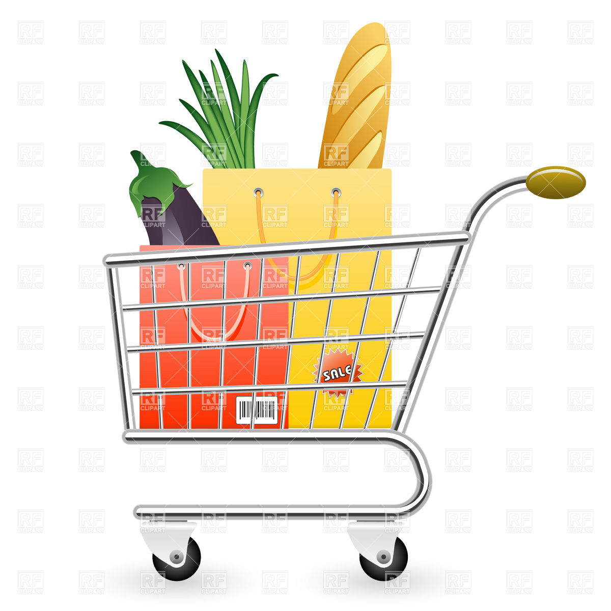 1200x1200 Shopping Cart Full Of Products Vector Image Vector Artwork Of