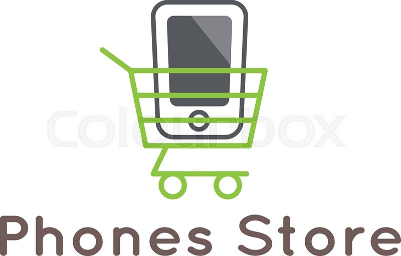 800x512 Vector Modern Mobile Phones Store Logotype. Smartphone In The