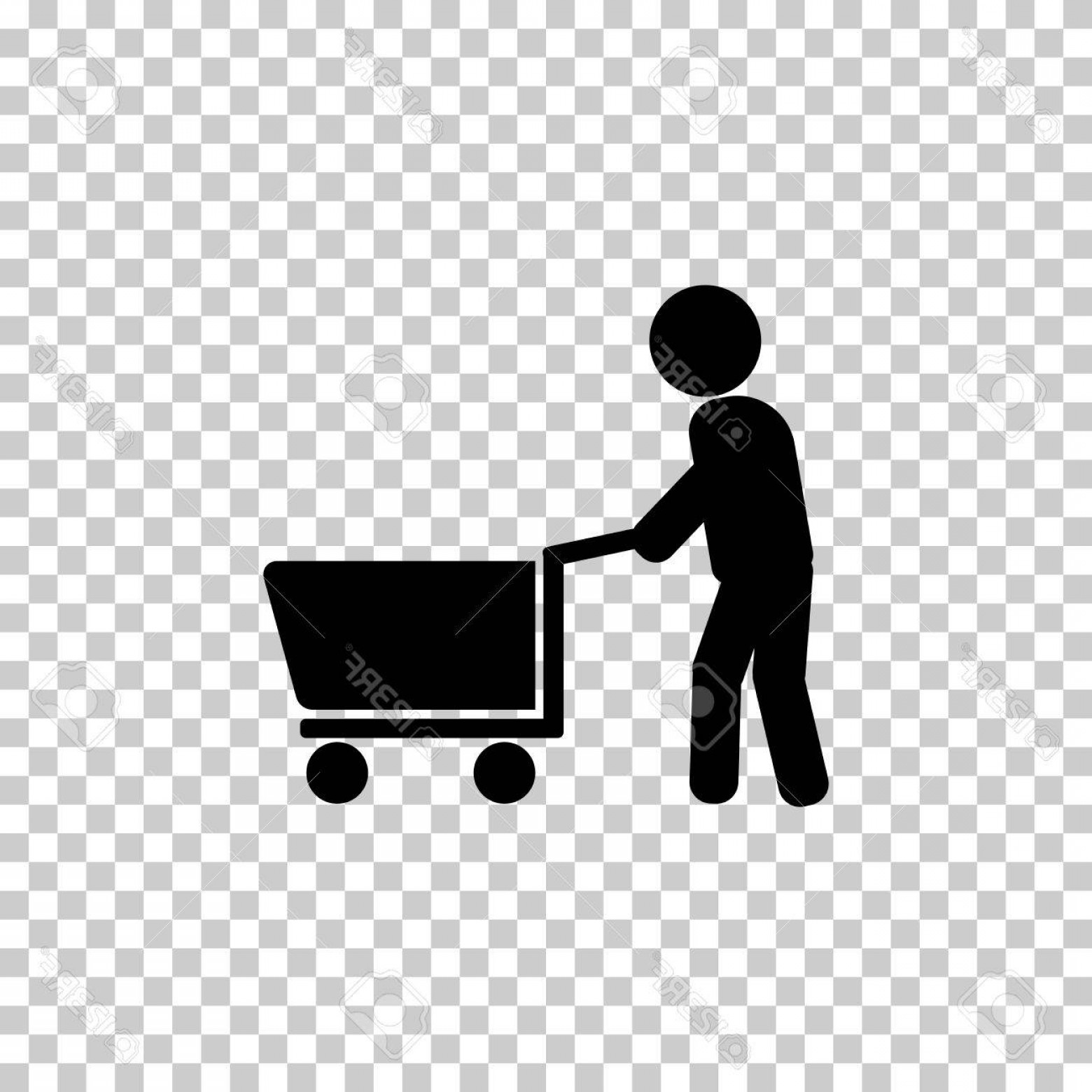 1560x1560 Photostock Vector Man Walking With Shopping Cart Vector Icon