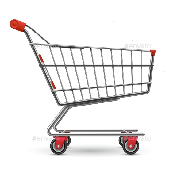 590x590 Realistic Empty Supermarket Shopping Cart Vector By Microvone