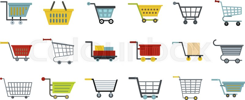 800x329 Shop Cart Icon Set. Flat Set Of Shop Cart Vector Icons For Web