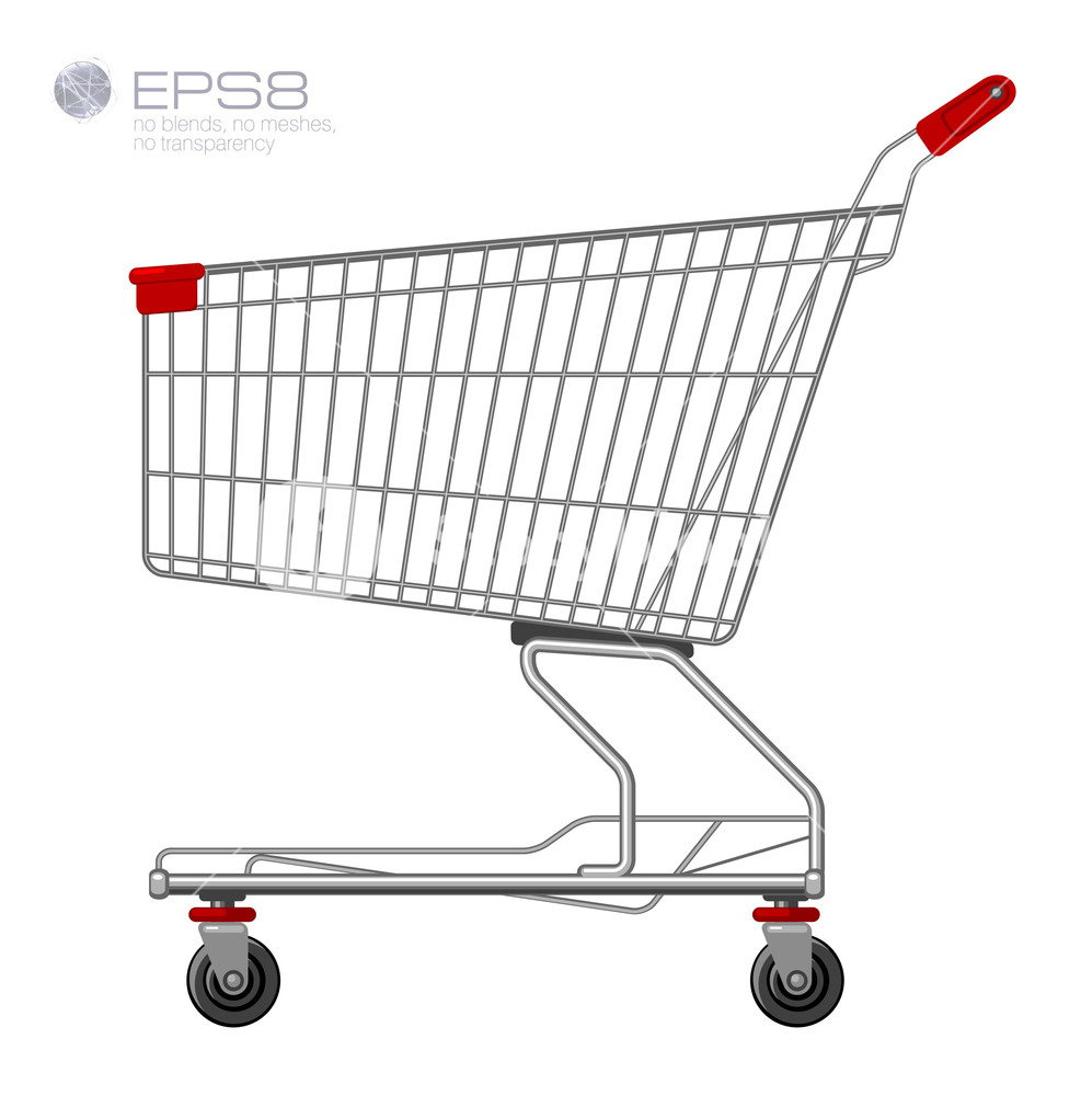 987x1000 Shopping Supermarket Cart. Vector. Royalty Free Stock Image