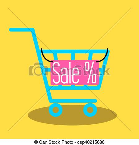 450x470 Shopping Cart Vector Icon With Sale Nameplate. Empty Market Cart